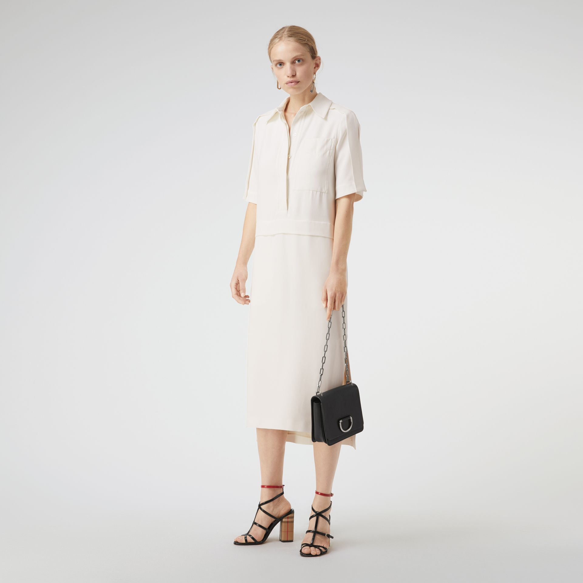 Split Detail Silk Wool Shirt Dress in Off White - Women | Burberry Australia - gallery image 0