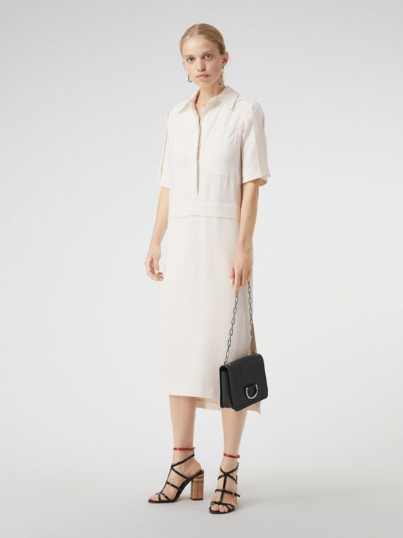 Split Detail Silk Wool Shirt Dress in Off White