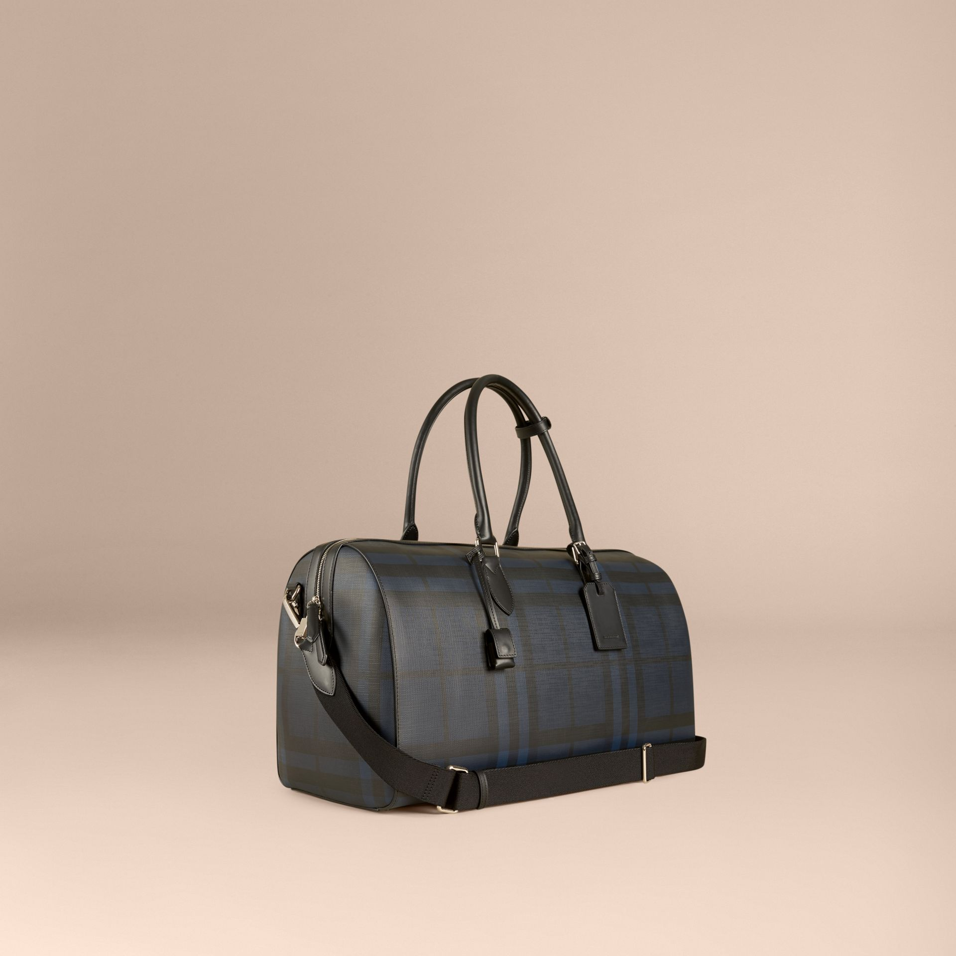 Leather Trim London Check Holdall in Navy/black - gallery image 1