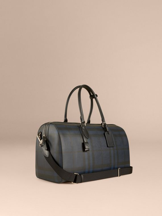 Borsone con motivo Smoked check e finiture in pelle Navy/nero