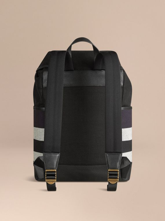Navy Canvas Check Backpack Navy - cell image 3