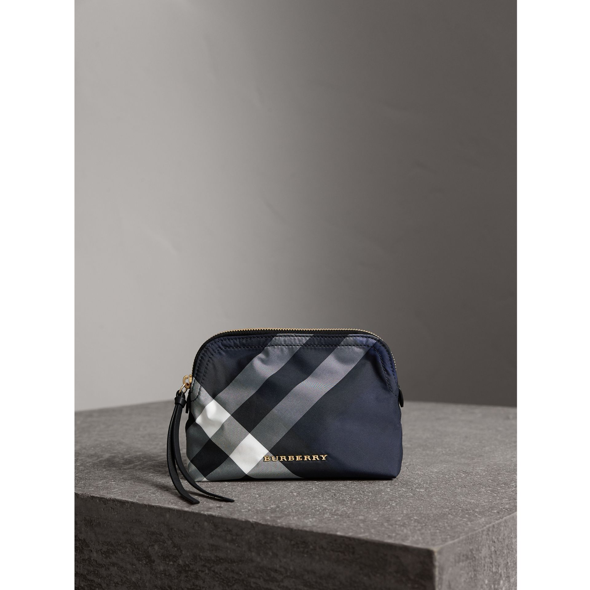 Medium Zip-top Check Technical Pouch in Indigo Blue - Women | Burberry Hong Kong - gallery image 1