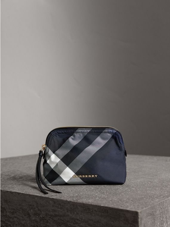 Medium Zip-top Check Technical Pouch in Indigo Blue - Women | Burberry