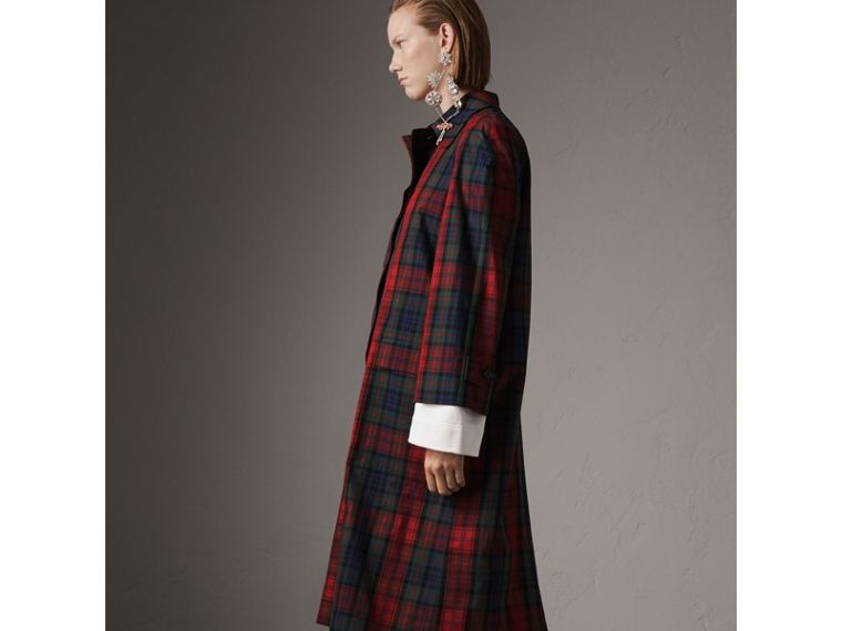 Tartan Cotton Gabardine Car Coat in Bright Red - Women | Burberry - cell image 4