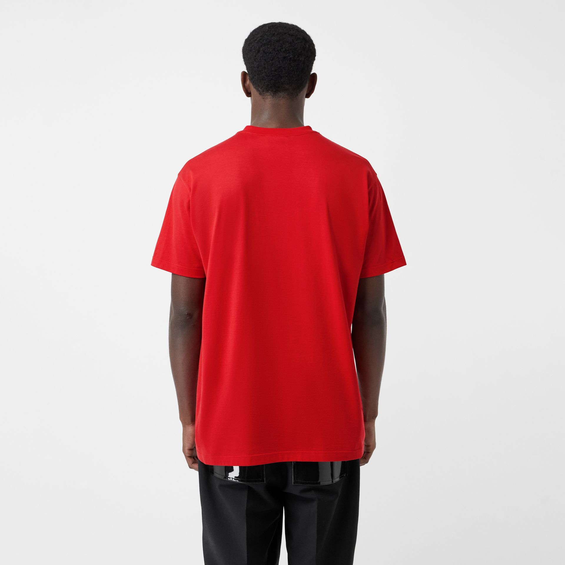 Montage Print Cotton Oversized T-shirt in Bright Red | Burberry - gallery image 2