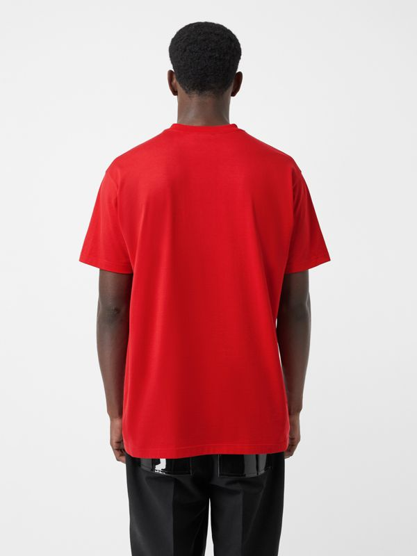 Montage Print Cotton Oversized T-shirt in Bright Red | Burberry - cell image 2