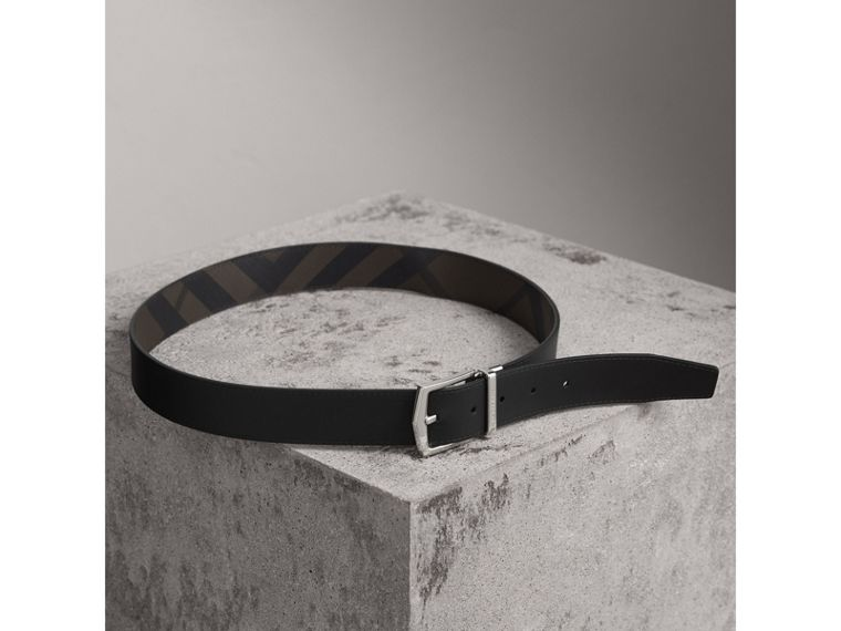 Reversible London Check and Leather Belt in Chocolate/black - Men | Burberry Singapore - cell image 4