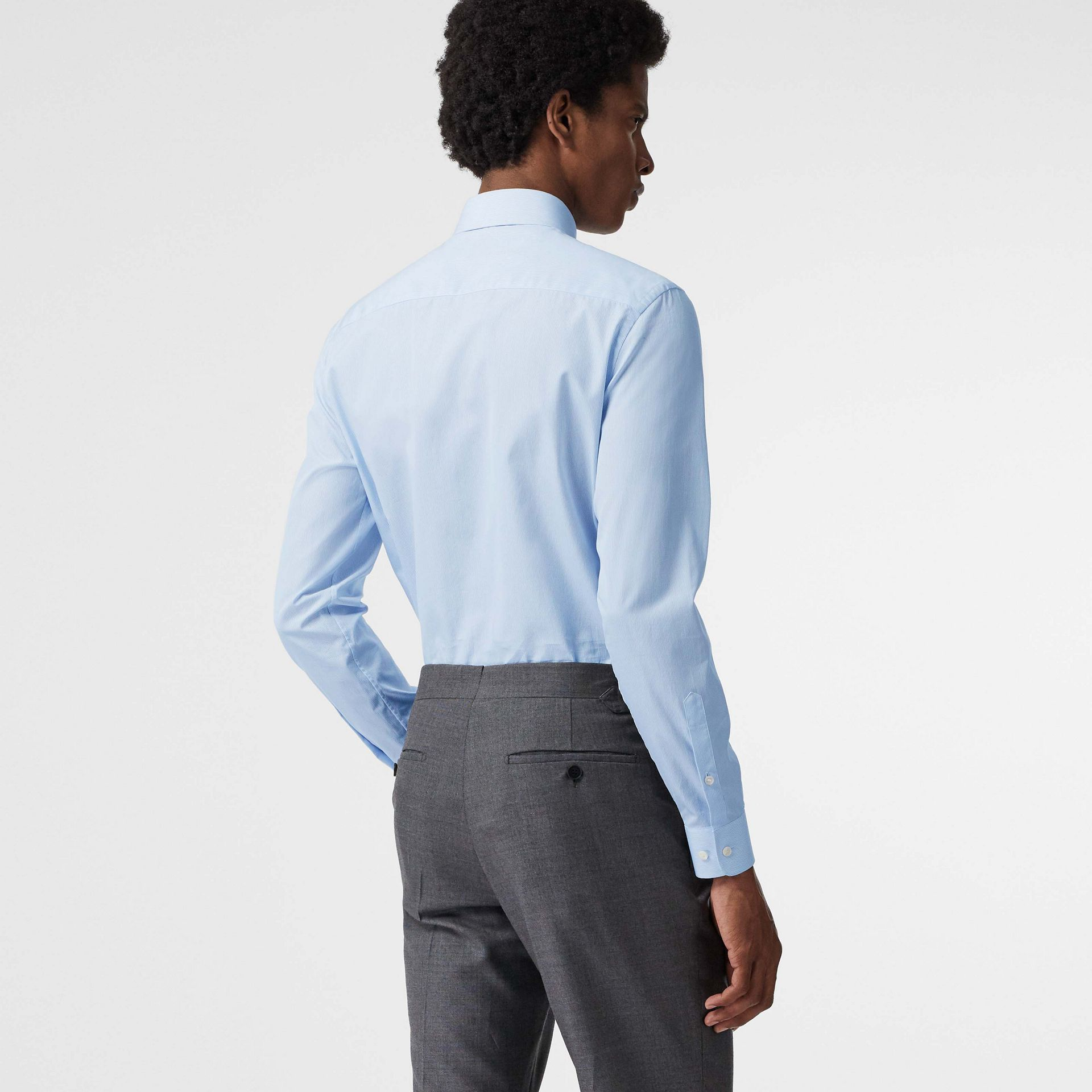 Slim Fit Cotton Poplin Shirt in City Blue - Men | Burberry United States - gallery image 2