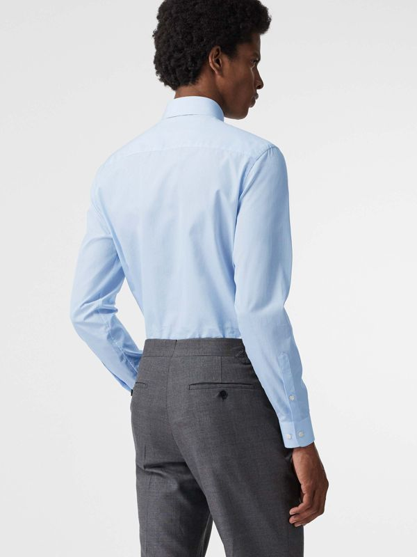 Slim Fit Cotton Poplin Shirt in City Blue - Men | Burberry United States - cell image 2
