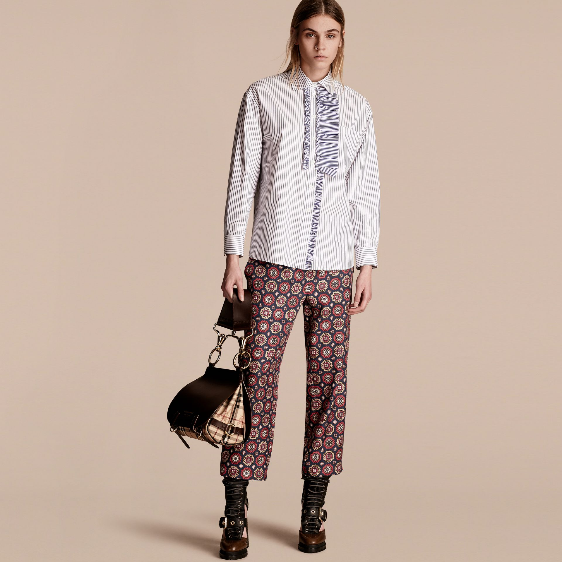 Navy Pyjama Print Cropped Silk Twill Pyjama-style Trousers - gallery image 6