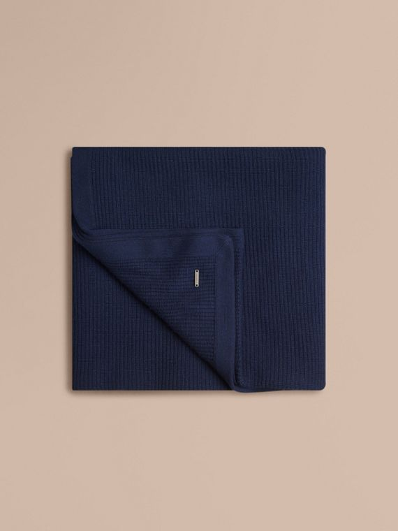 Navy Rib Cashmere Blanket Navy - cell image 3