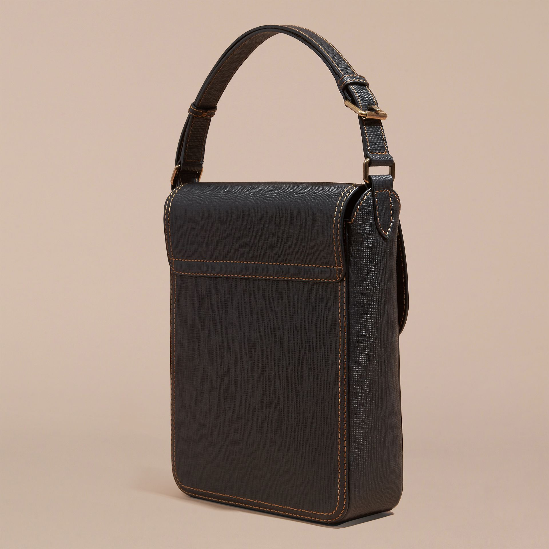 Black The Medium Satchel in Textured Leather - gallery image 4