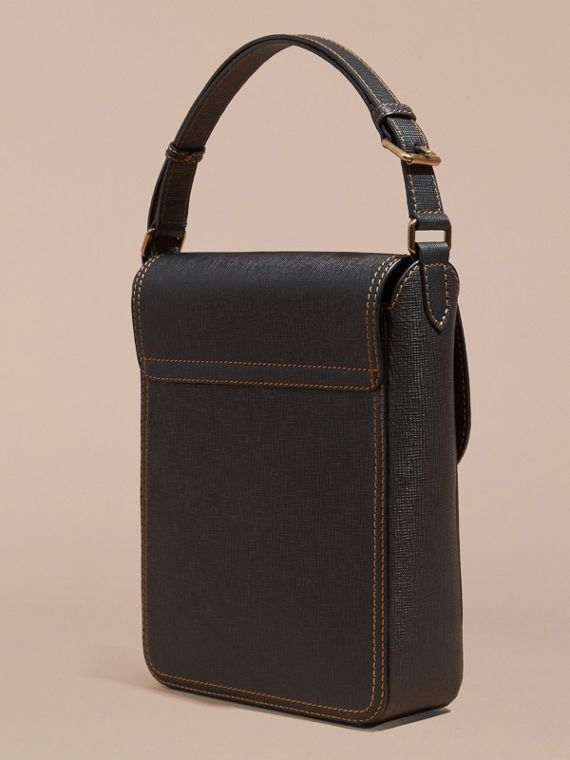 Black The Medium Satchel in Textured Leather - cell image 3