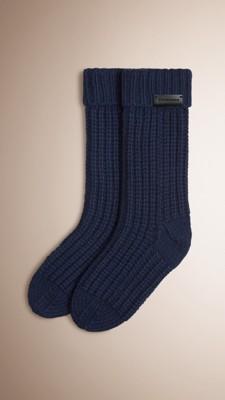 Knitting Pattern For Cashmere Socks : Navy Knitted Cashmere Socks - Image 1