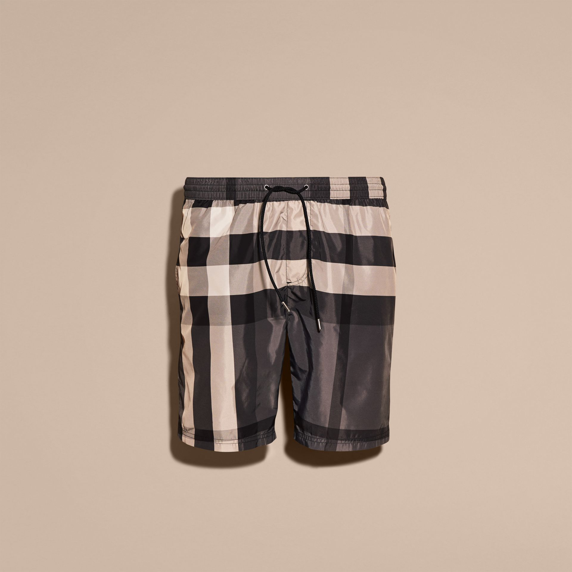 Check Swim Shorts in Charcoal - Men | Burberry - gallery image 4