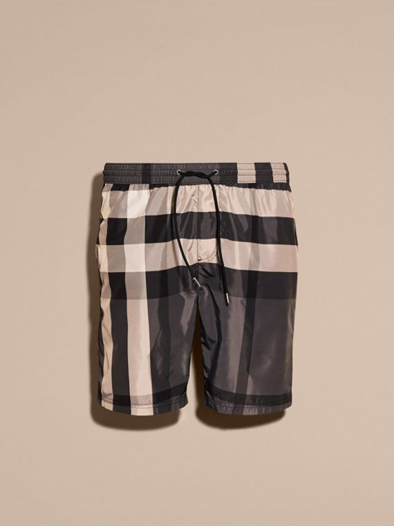 Check Swim Shorts in Charcoal - Men | Burberry
