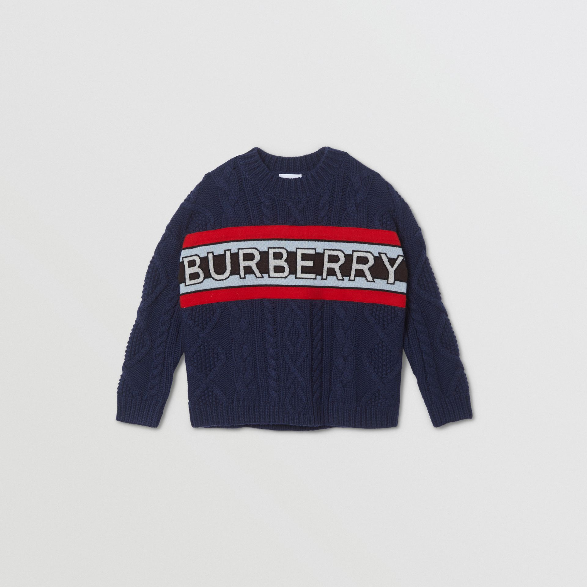 Logo Panel Cable Knit Wool Cashmere Sweater in Navy | Burberry Singapore - gallery image 0