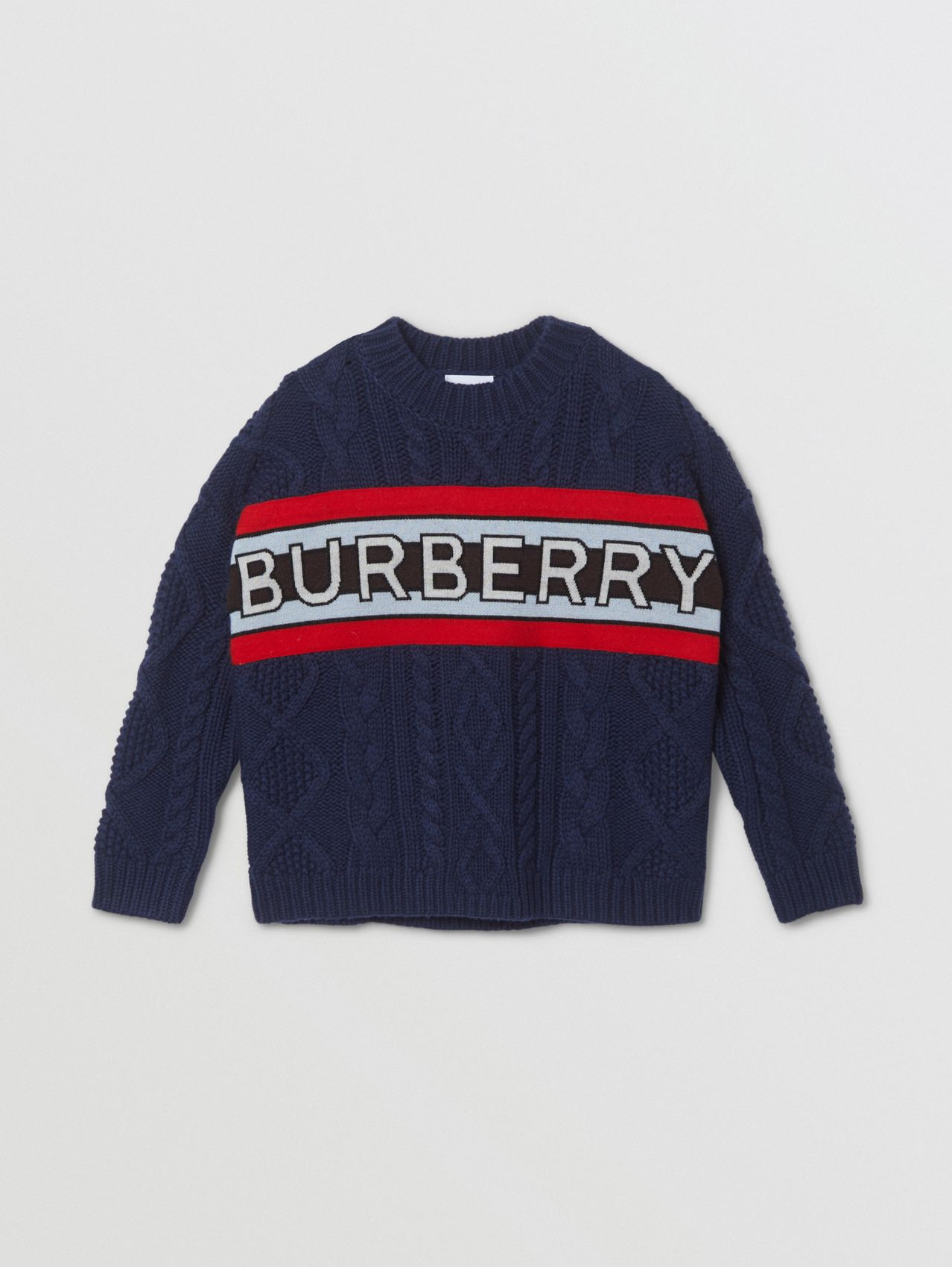 Logo Panel Cable Knit Wool Cashmere Sweater (Navy)