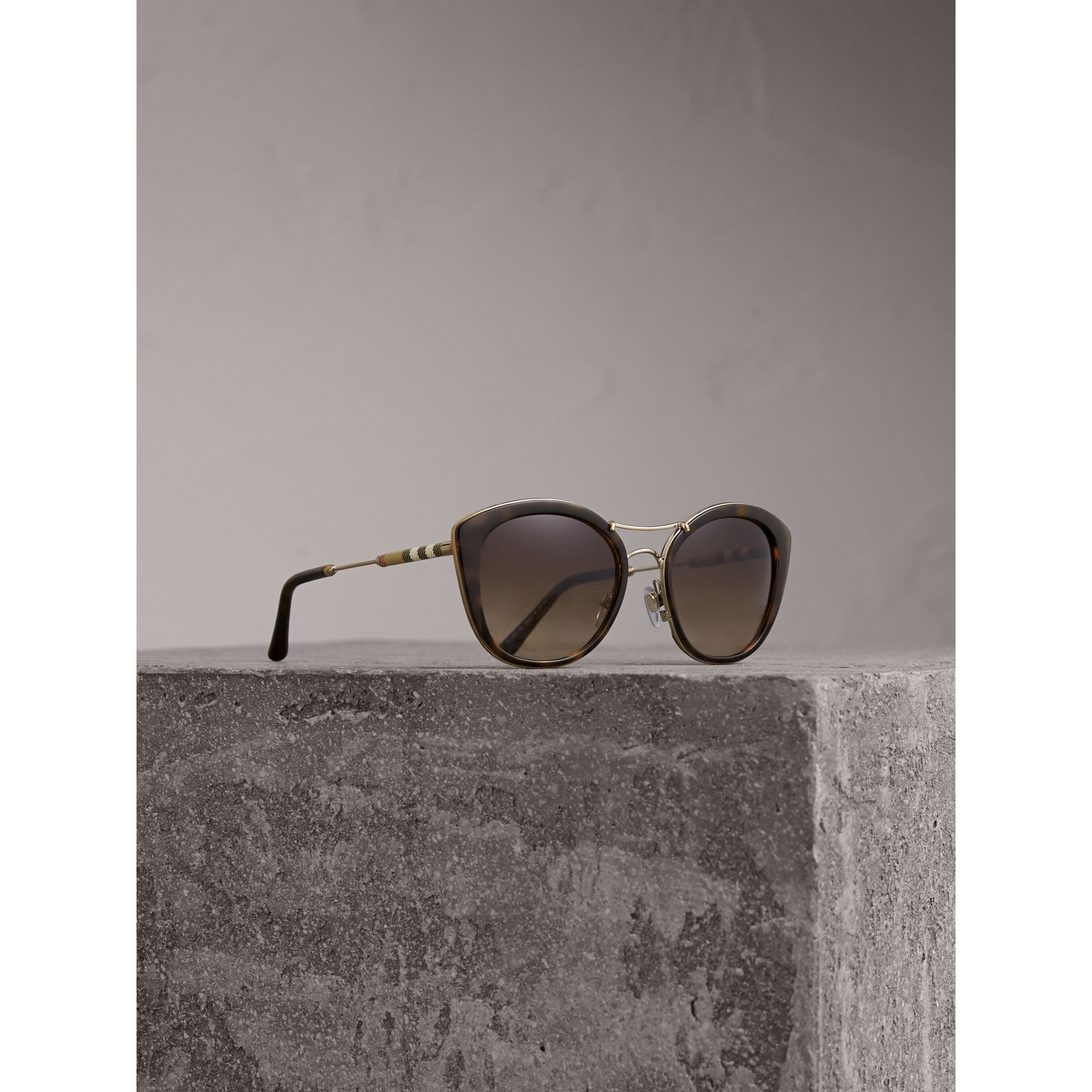 Check Detail Round Frame Sunglasses in Dark Brown - Women | Burberry Hong Kong - gallery image 1