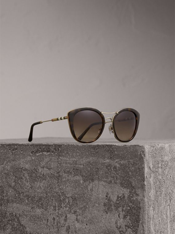 Check Detail Round Frame Sunglasses in Dark Brown - Women | Burberry