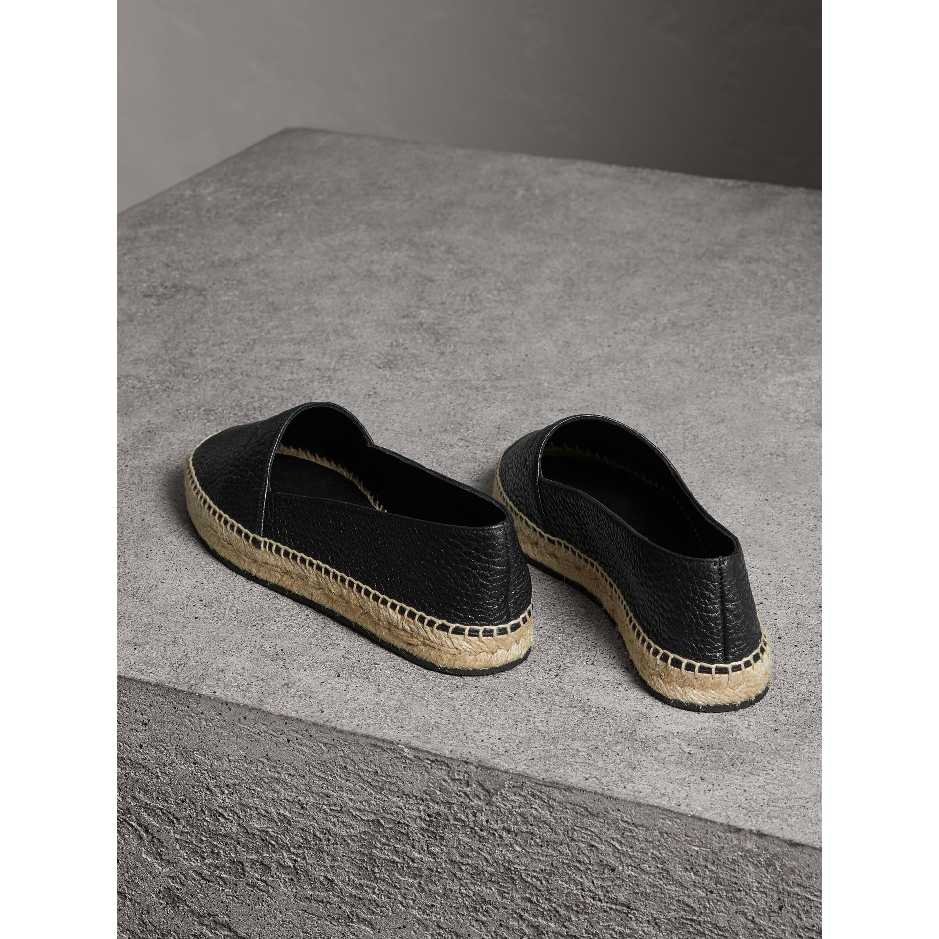 Embossed Grainy Leather Espadrilles in Black - Women | Burberry Canada - gallery image 3