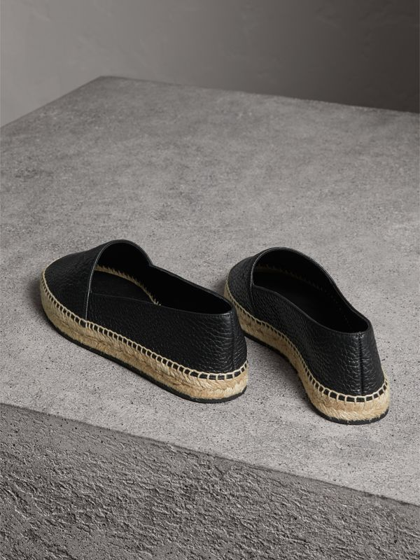 Embossed Grainy Leather Espadrilles in Black - Women | Burberry Singapore - cell image 3