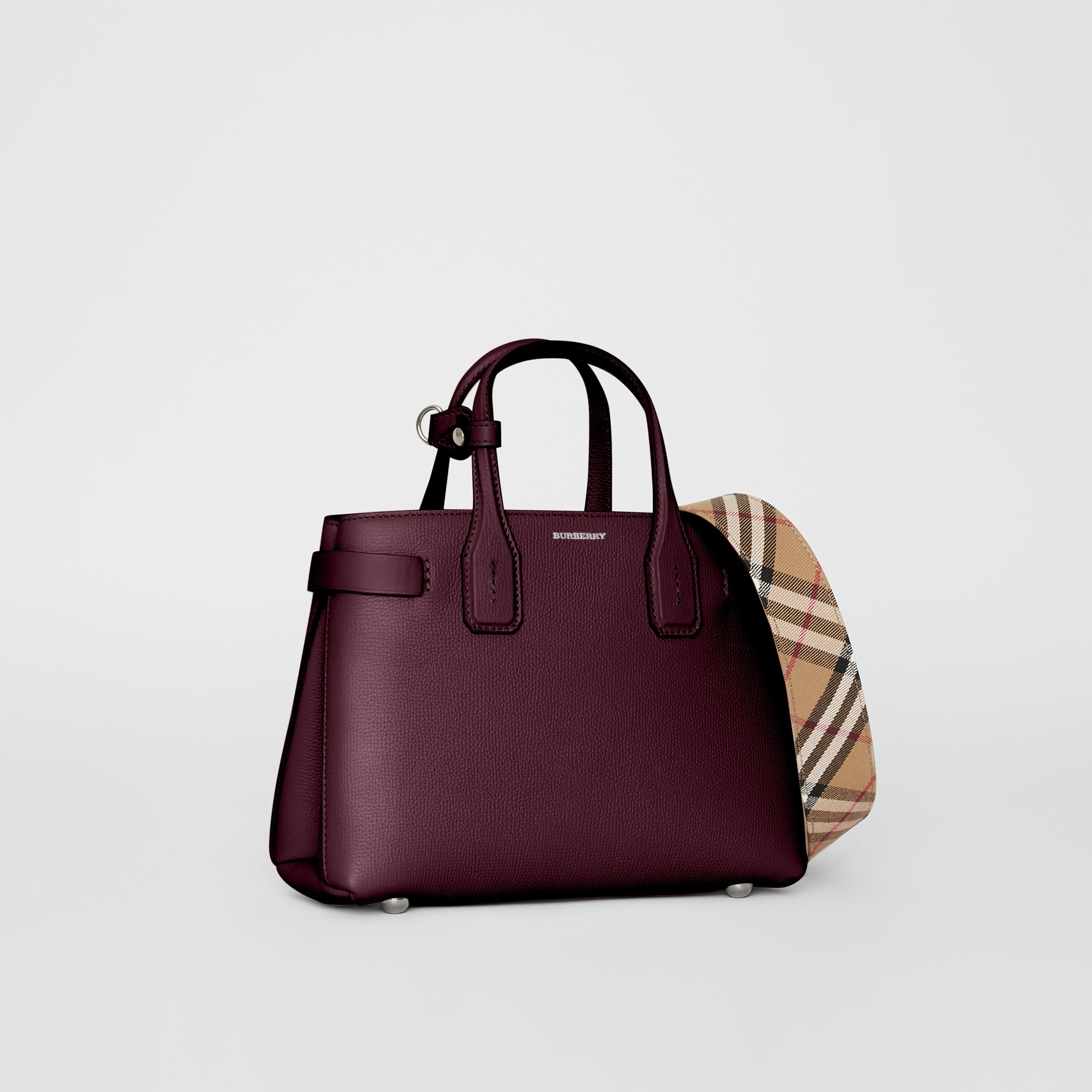 The Small Banner in Leather and Vintage Check in Mahogany Red - Women | Burberry - gallery image 1