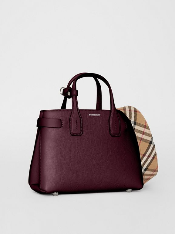 The Small Banner in Leather and Vintage Check in Mahogany Red - Women | Burberry United Kingdom - cell image 1