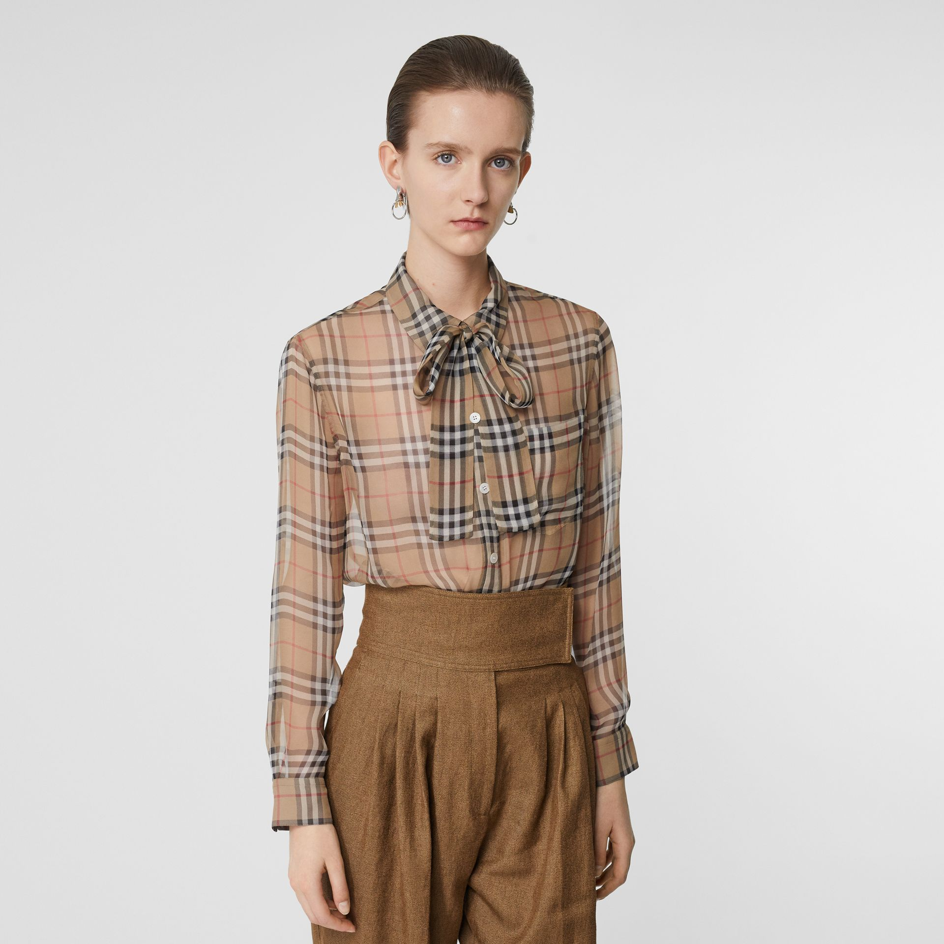 Vintage Check Silk Tie-neck Shirt in Archive Beige - Women | Burberry Singapore - gallery image 5