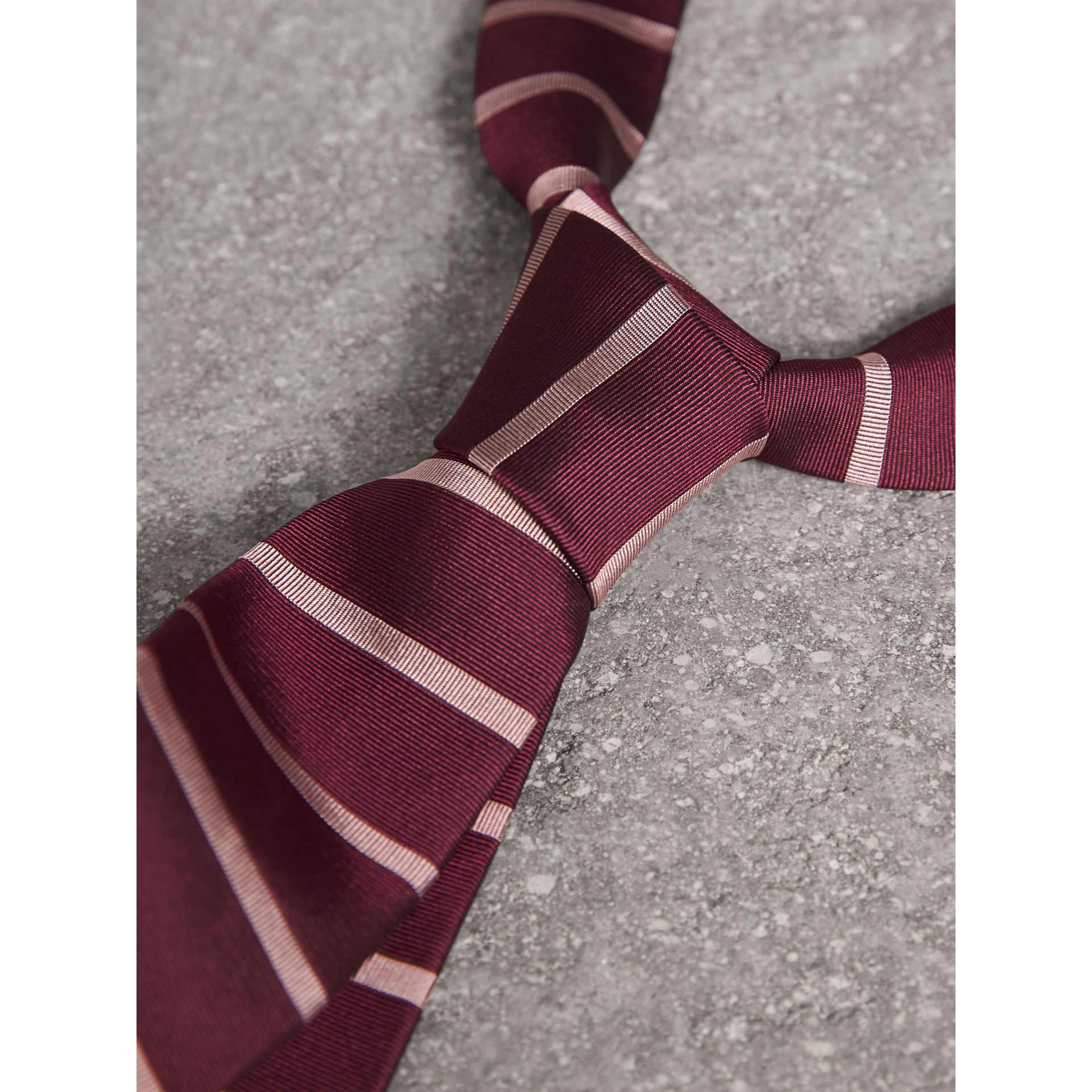 Modern Cut Striped Silk Tie in Garnet Pink - Men | Burberry Australia - gallery image 2