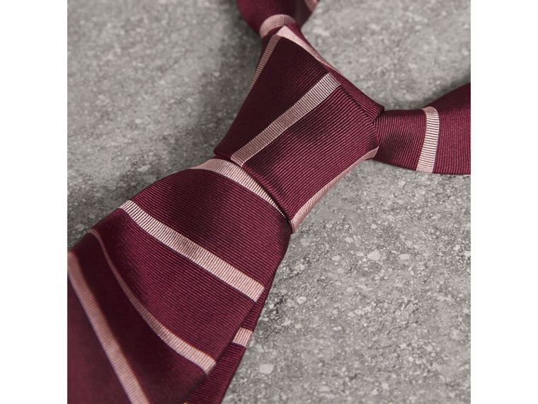 Modern Cut Striped Silk Tie in Garnet Pink - Men | Burberry Hong Kong - cell image 1