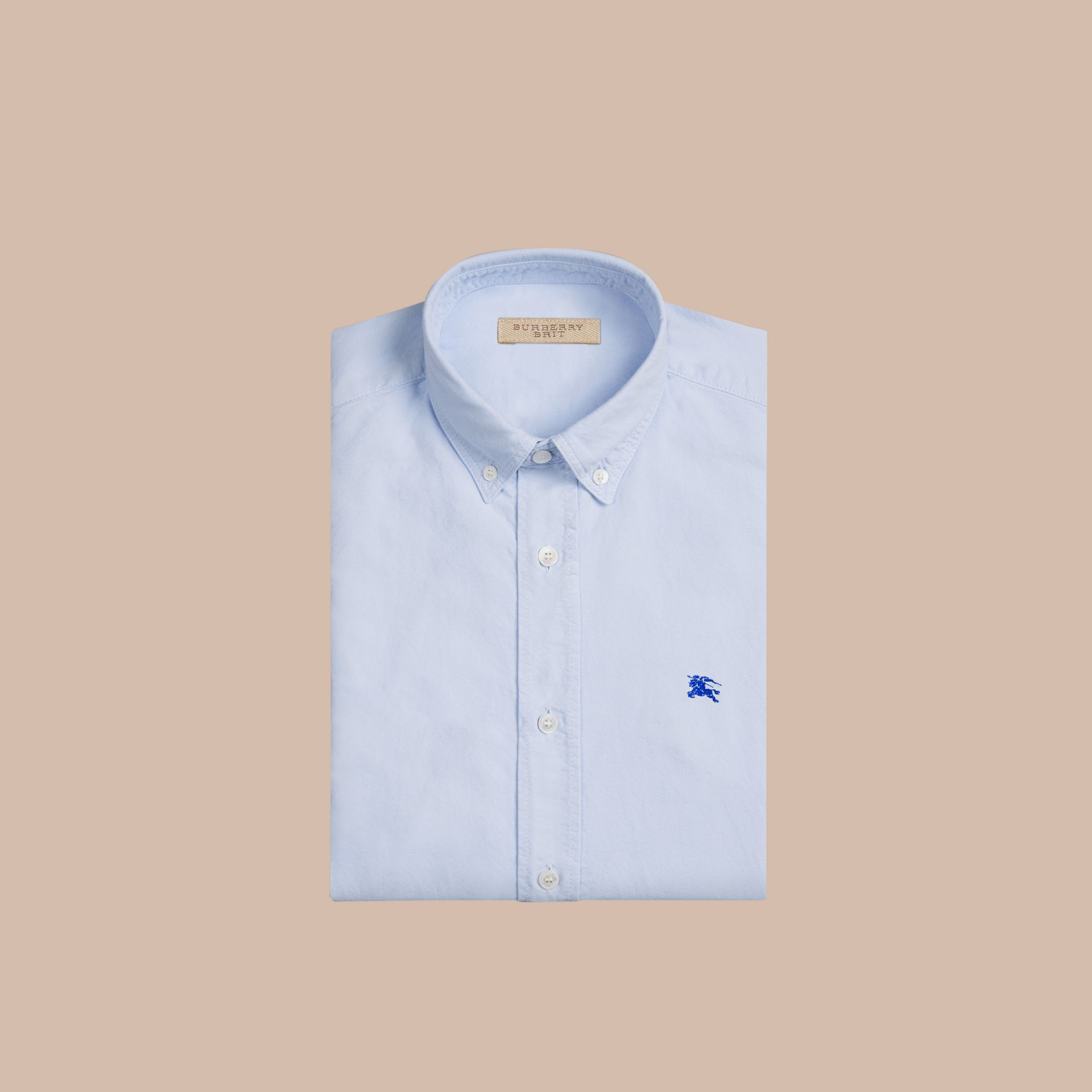 Cotton Oxford Shirt Pale Blue - gallery image 2