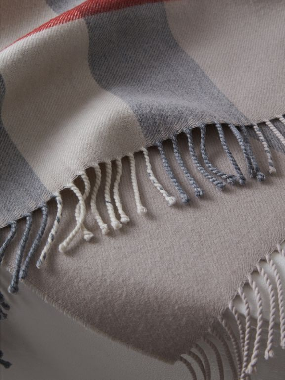 Check Merino Wool Baby Blanket in Stone - Children | Burberry United Kingdom - cell image 1