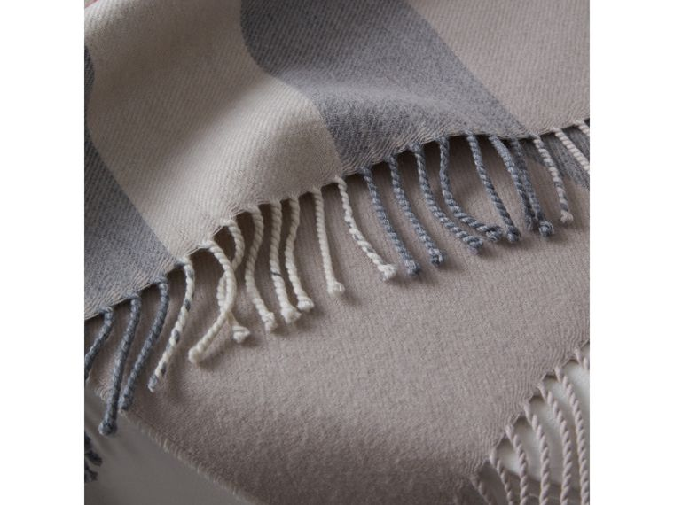 Check Merino Wool Baby Blanket in Stone | Burberry - cell image 1
