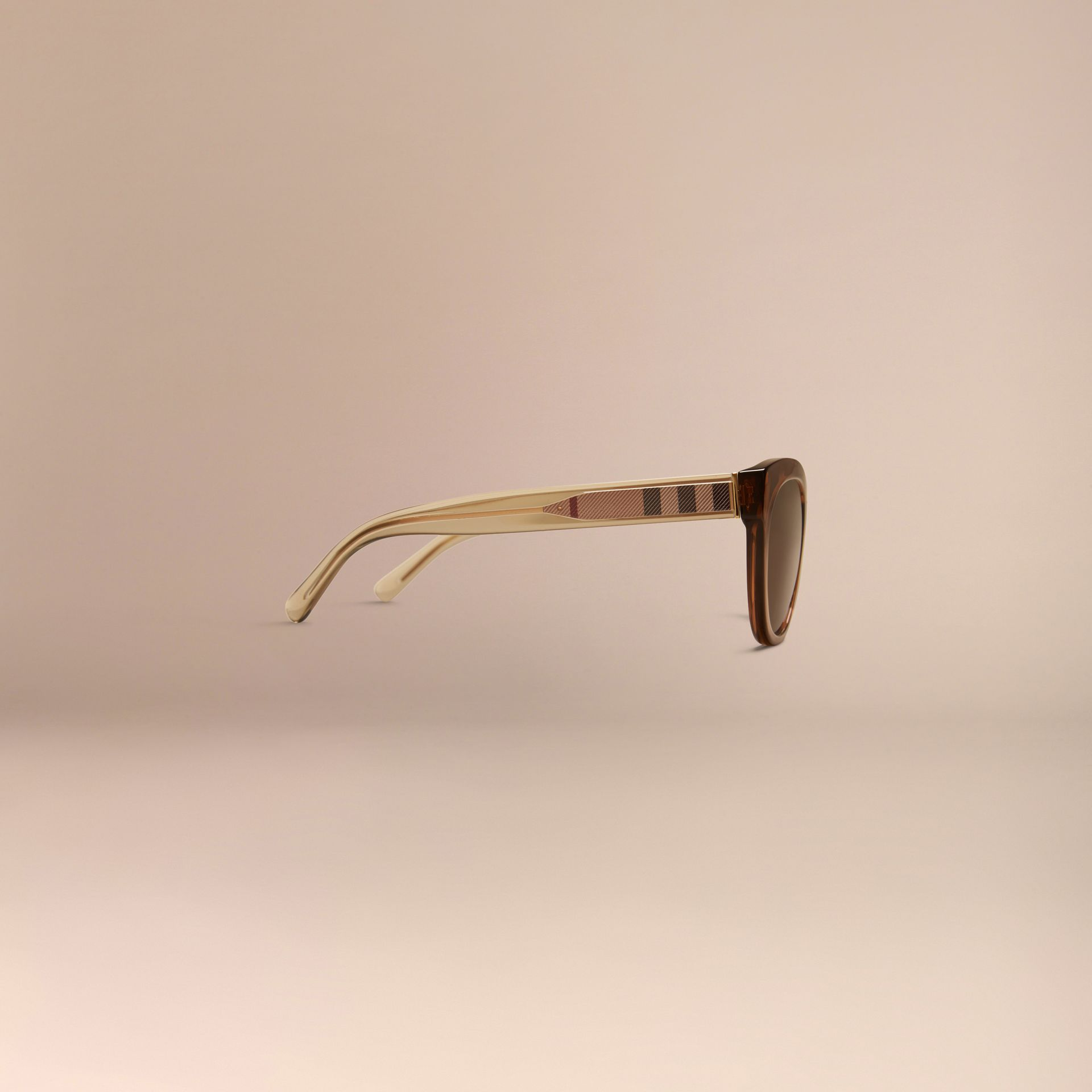 Taupe brown Check Detail Oval Sunglasses Taupe Brown - gallery image 5