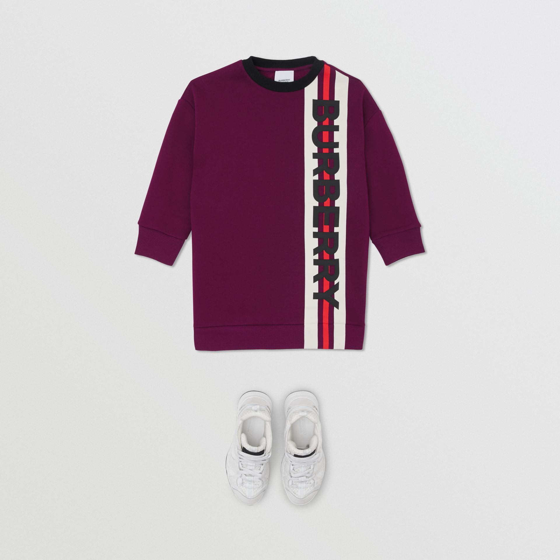 Logo Print Jersey Sweater Dress in Burgundy | Burberry - gallery image 2
