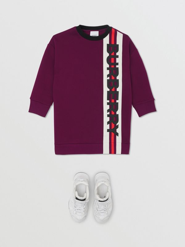 Logo Print Jersey Sweater Dress in Burgundy | Burberry Singapore - cell image 2