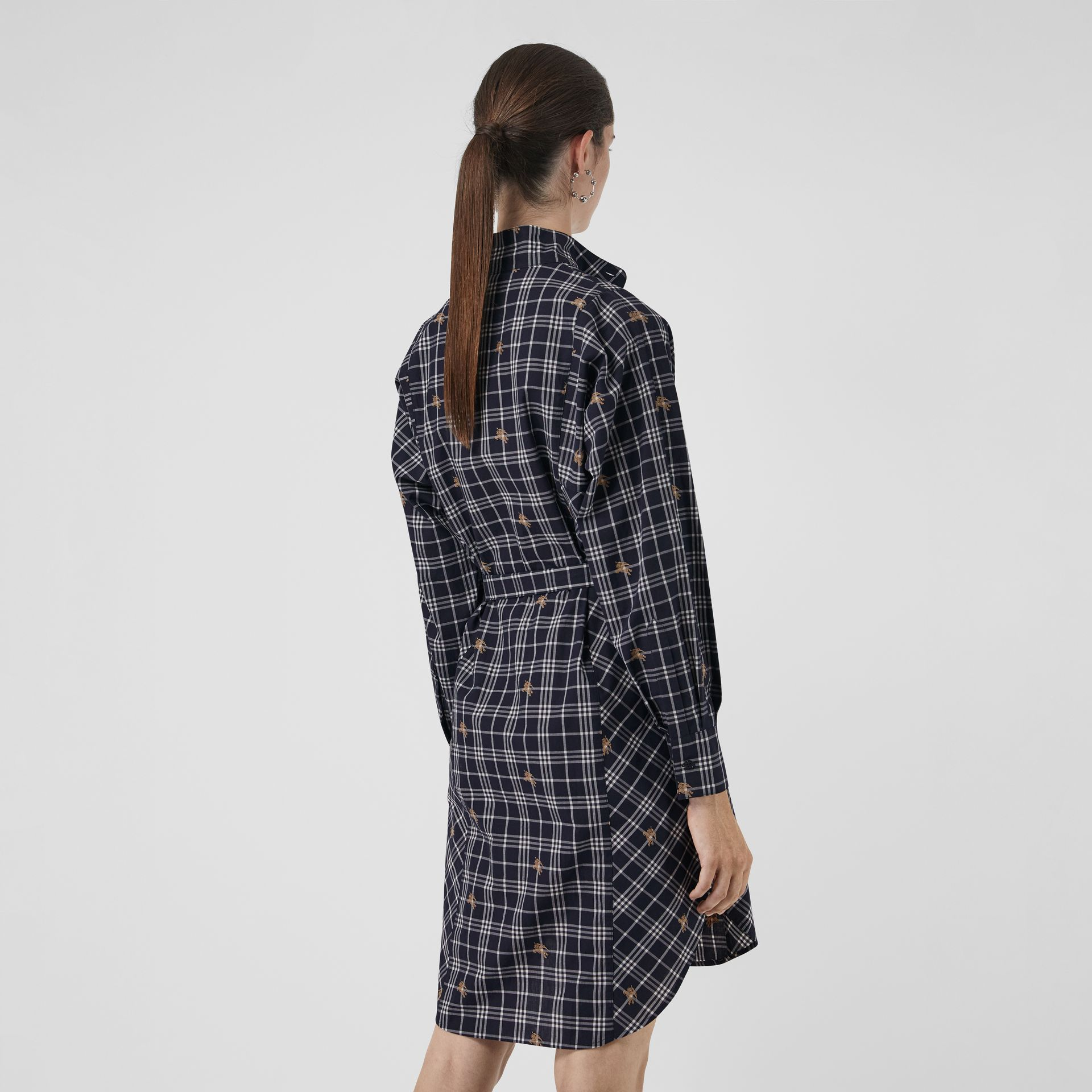 Equestrian Knight Check Tie-waist Shirt Dress in Navy - Women | Burberry Australia - gallery image 2