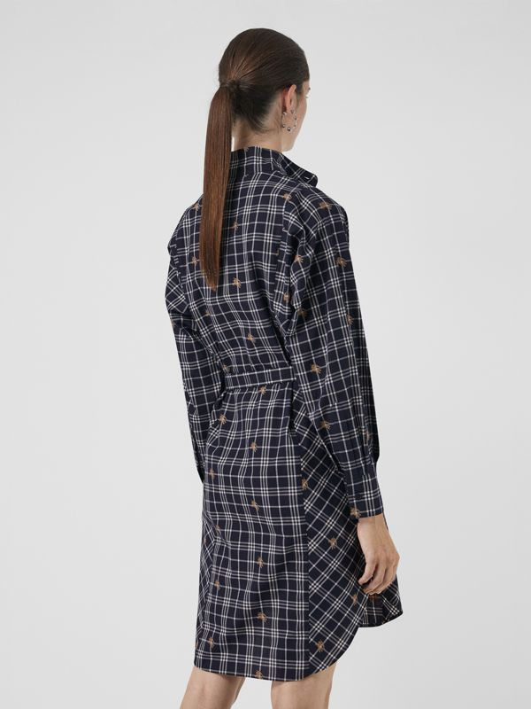 Equestrian Knight Check Tie-waist Shirt Dress in Navy - Women | Burberry - cell image 2