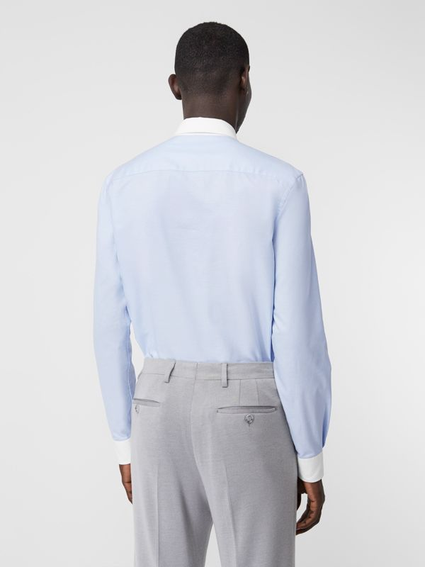 Classic Fit Lace Detail Cotton Oxford Shirt in Pale Blue | Burberry - cell image 2