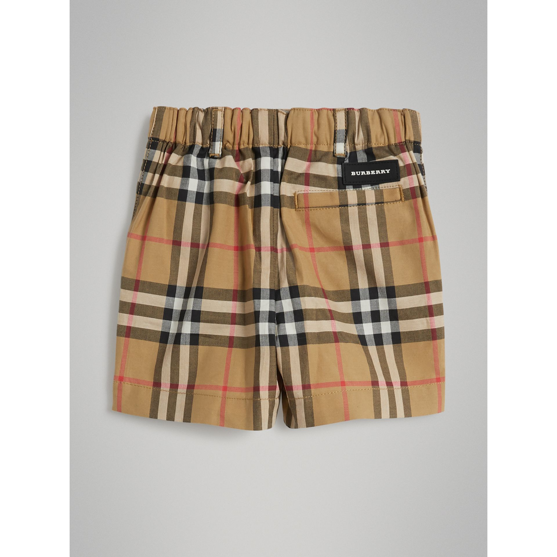 Vintage Check Cotton Tailored Shorts in Antique Yellow - Children | Burberry - gallery image 3