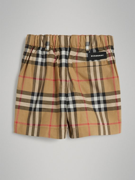 Vintage Check Cotton Shorts in Antique Yellow | Burberry - cell image 3