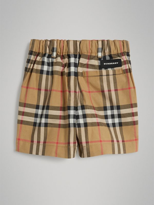 Vintage Check Cotton Tailored Shorts in Antique Yellow - Children | Burberry Australia - cell image 3