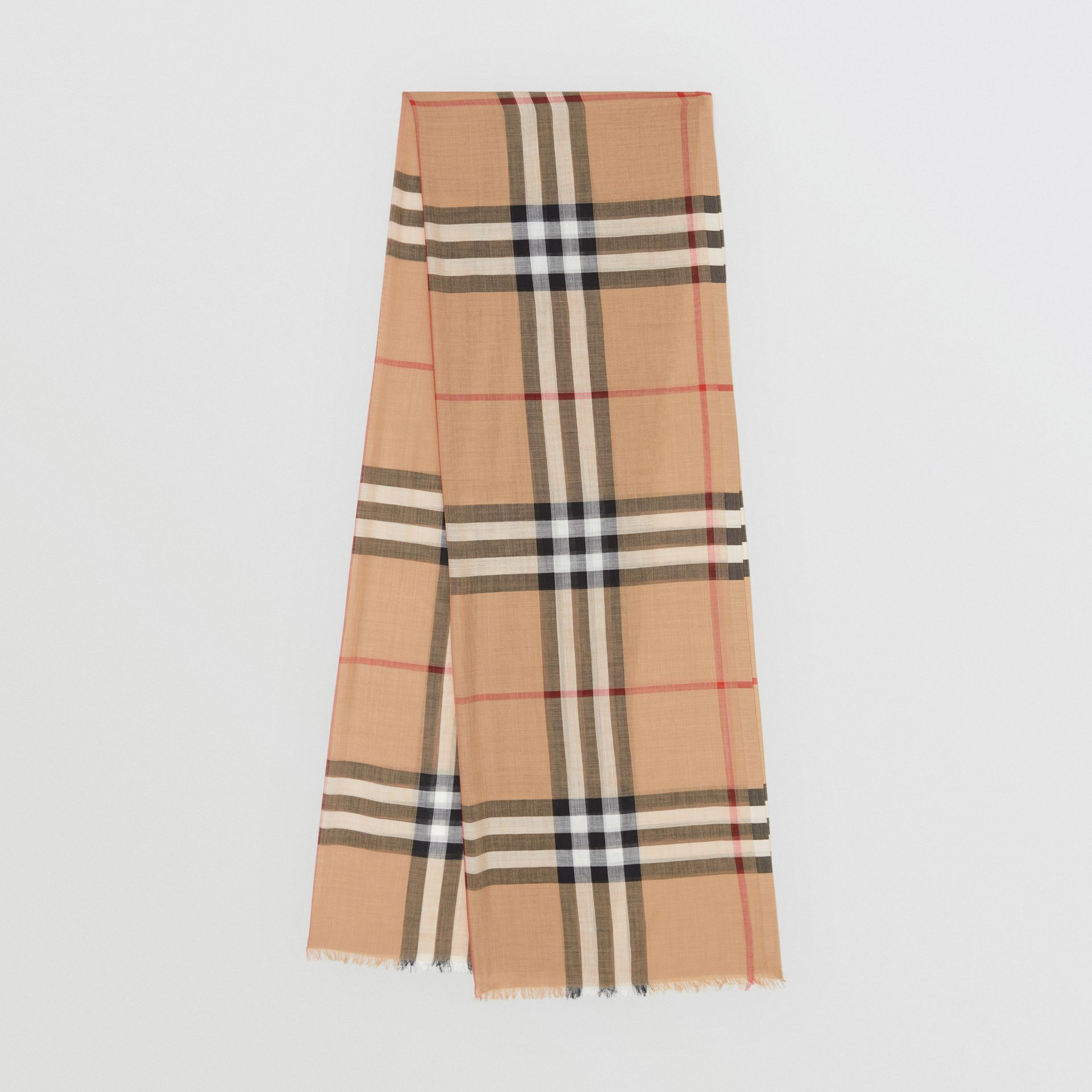 Lightweight Check Wool and Silk Scarf in Camel | Burberry United States - gallery image 0