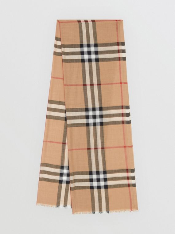 59e8000878dc Lightweight Check Wool and Silk Scarf in Camel