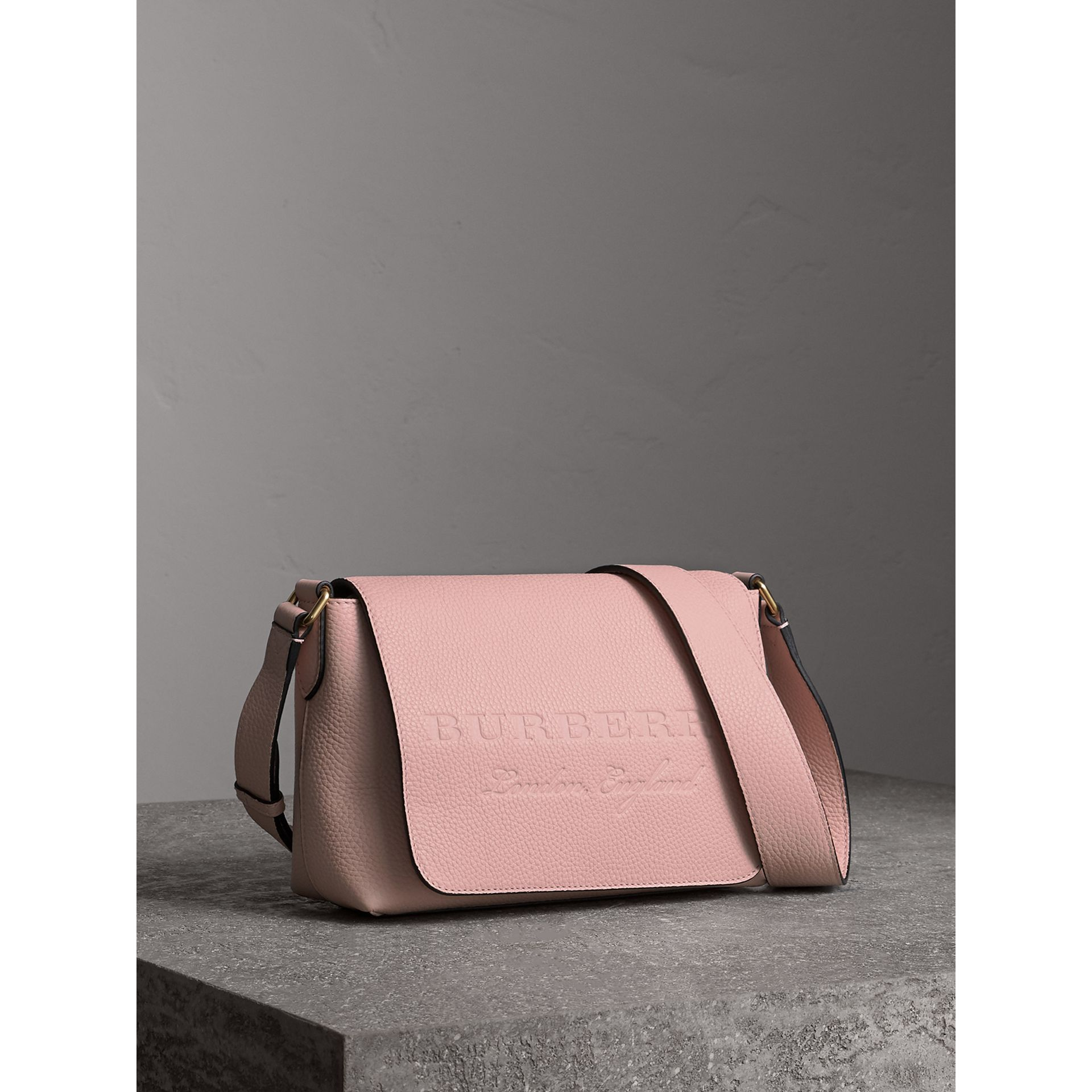Small Embossed Leather Messenger Bag in Pale Ash Rose - Women | Burberry - gallery image 5