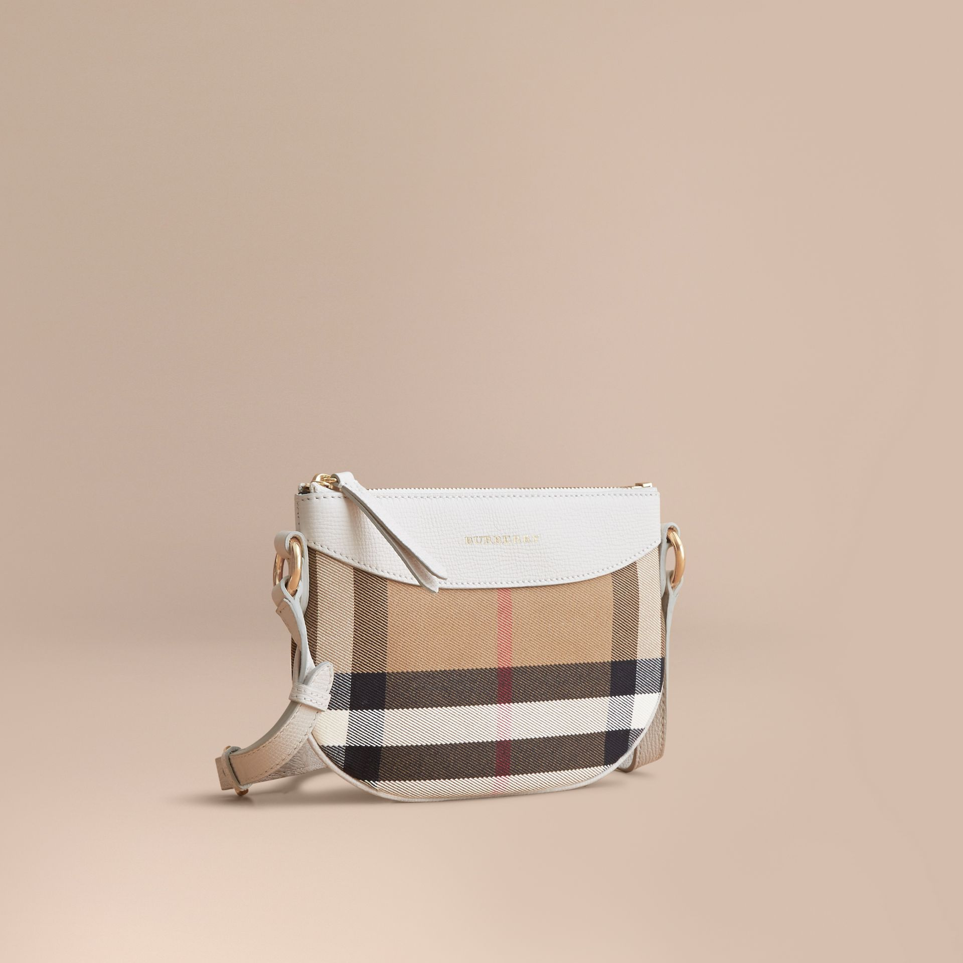 House Check and Leather Crossbody Bag in Natural - Girl | Burberry - gallery image 1