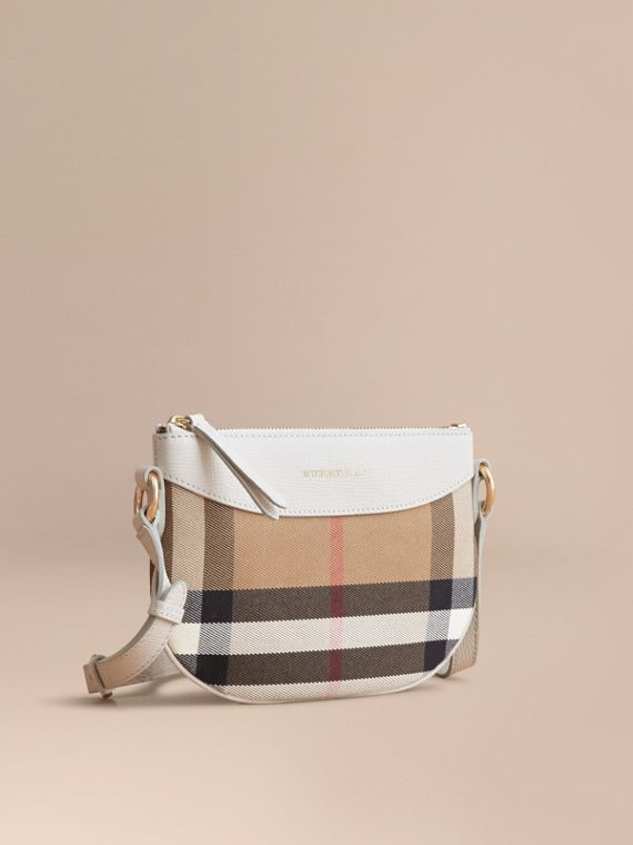 House Check and Leather Crossbody Bag Natural