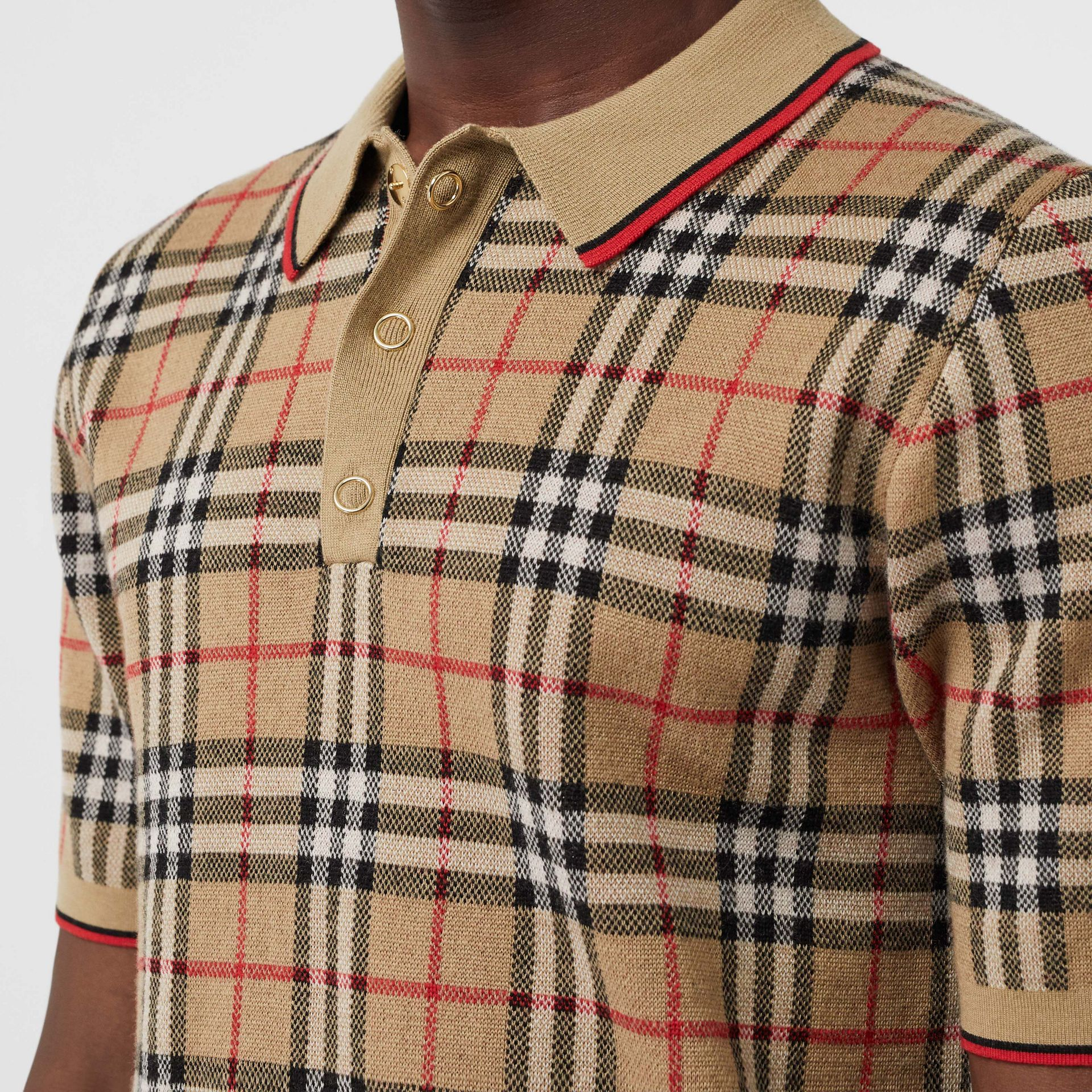 Vintage Check Merino Wool Polo Shirt in Archive Beige - Men | Burberry United States - gallery image 1