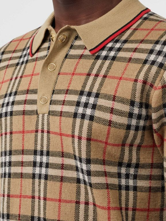 Vintage Check Merino Wool Polo Shirt in Archive Beige - Men | Burberry - cell image 1